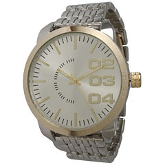 Olivia Pratt Mens Gold Bezel Two Tone Basket Link Bracelet Watch 15278Gold Silver Two Tone