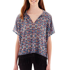 Olsenboye® Short-Sleeve Aztec Print Hooded Poncho