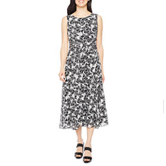 Black Label by Evan-Picone Sleeveless Floral Fit & Flare Dress