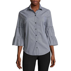 Worthington 3/4 Sleeve Stripe Button-Front Shirt