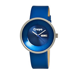 Crayo Unisex Button Blue Leather-Band Watch With Day&Date Cracr0202