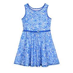 Marmellata Blue Printed Lace Sleeveless Skater Dress - Girls' 7-16