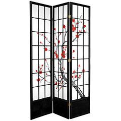 Oriental Furniture 7' Cherry Blossom 3 Panel RoomDivider