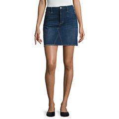 Arizona Raw Edge Denim Skirt-Juniors