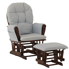 Storkcraft Hoop Glider And Ottoman - Espresso W/ Beige Cushions Dome-Arm Glider