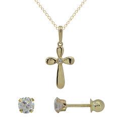 Girls 14K Gold Cubic Zirconia Stud Earrings & Cross Pendant Necklace Set