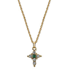 1928 Symbols Of Faith Religious Jewelry Womens Green Pendant Necklace
