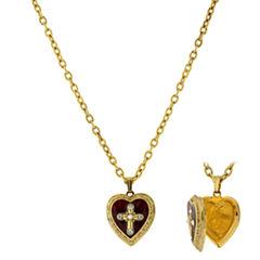 1928 Symbols Of Faith Religious Jewelry Womens Locket Necklace