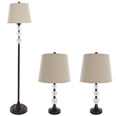 Lavish Home Crystal Ball 3-pc. Lamp Set