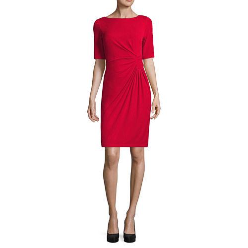 London Style Elbow Sleeve Sheath Dress-Petites