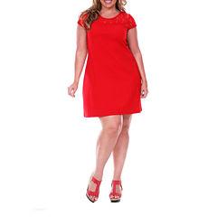 White Mark Lace Cutout Sheath Dress-Plus