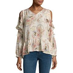 Buffalo Jeans Long Sleeve Floral Ruffle Top