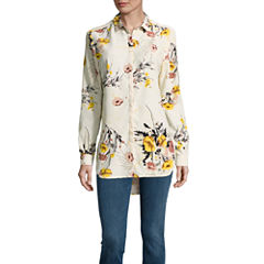 i jeans by Buffalo Floral Long Sleeve Tunic Blouse