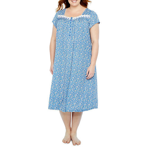 Adonna Short Sleeve Knit Long Nightgown-Plus