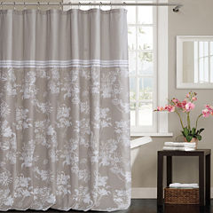 Kensie Clara Polycotton Shower Curtain With ThreeLines Lace Border