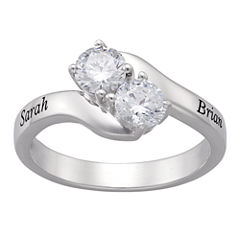 Personalized Sterling Silver Cubic Zirconia Couple's Name Ring
