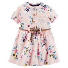 Carter's Short Sleeve Floral A-Line Dress - Baby Girls
