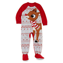 Rudolph The Red Nose Reindeer Family Pajama One Piece - Toddler
