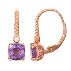 Genuine Amethyst & Diamond Accent 14K Rose Gold Over Silver Leverback Earrings