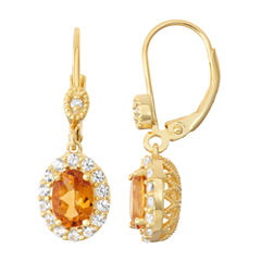 Genuine Citrine & Lab-Created White Sapphire Diamond Accent 14K Gold Over Silver Earrings