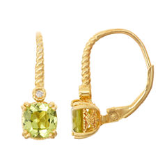 Genuine Peridot Diamond Accent 14K Gold Over Silver Leverback Earrings