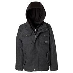 Wool Jacket with Fleece Hood - Boys