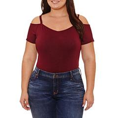 Boutique + Short Sleeve Off the Shoulder Bodysuit-Plus