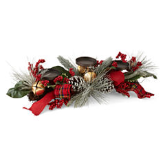 North Pole Trading Co. Winter Lodge Floral Pillar Candle Holder