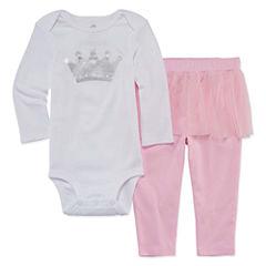 Okie Dokie 2-pc.Long Sleeve Bodysuit Set-Baby Girls