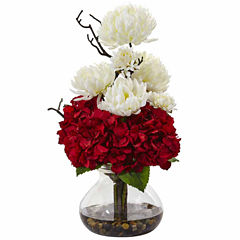 Hydrangea And Mum In Vase Floral Arrangement