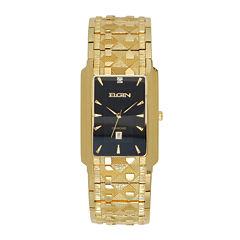 Elgin® Mens Gold-Tone & Diamond-Accent Rectangular Watch