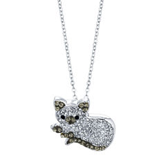 Sparkle Allure Womens White Silver Over Brass Pendant Necklace