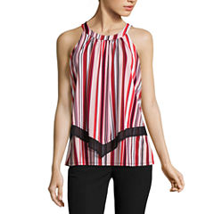 Worthington Sleeveless Crew Neck Stripe T-Shirt-Womens