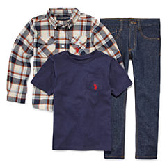Us Polo Assn. 3-pc. Plaid Pant Set Boys