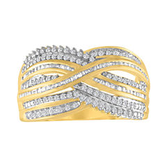 Womens 1/2 CT. T.W. Genuine White Diamond Gold Over Silver Cocktail Ring
