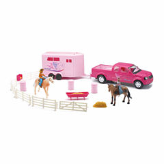 Pink Pick Up Truck & Trailer Horse Set