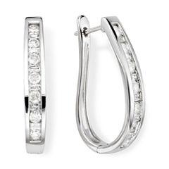 1 CT. T.W. Diamond 10K White Gold Hoop Earrings