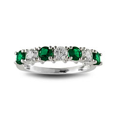 Lab-Created Emerald and White Sapphire Rhodium-Plated Ring