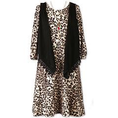 Speechless 3/4 Sleeve Animal Print Dress w/ Vest - Girls' 7-16