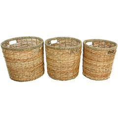 Oriental Furniture Rush Grass Round Waste Basket