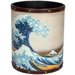 Oriental Furniture Great Wave Off Kanagawa Waste Basket