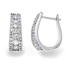 1½ CT. T.W. Certified Diamond 14K White Gold Hoop Earrings