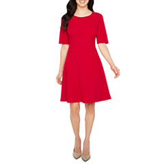 Liz Claiborne Elbow Sleeve Fit & Flare Dress