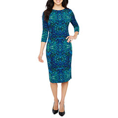 Liz Claiborne 3/4 Sleeve Pattern Sheath Dress