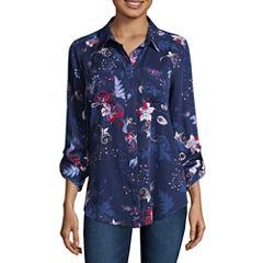 Liz Claiborne 3/4 Sleeve Rayon Button-Front Shirt