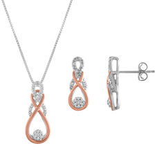 Diamond Blossom Womens 2-pc. 1/10 CT. T.W. Diamond Sterling Silver 14K Rose Gold over Silver Jewelry Set