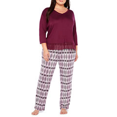 Ambrielle 3/4 Sleeve Chiffon Trim Top and  Pant Pajama Set-Plus