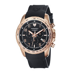 Swiss Eagle® Landmaster Mens Black Dial Black Silicone Strap Chronograph Watch SE-9044-04