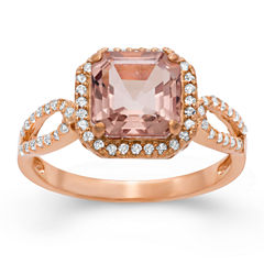Womens Simulated Pink Morganite 14K Gold Over Silver Cocktail Ring