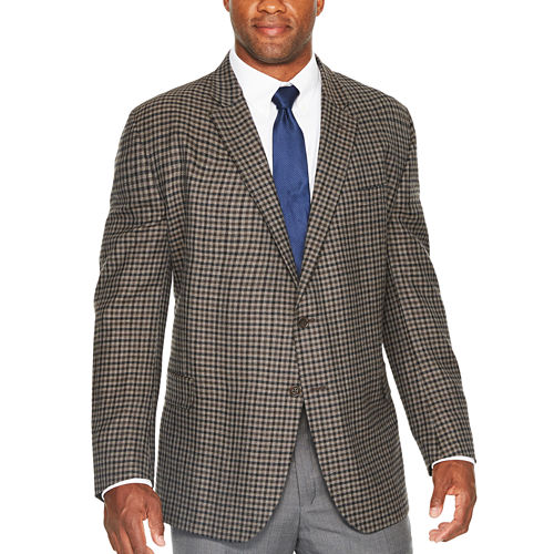 Stafford Merino Wool Sportcoat Gray Brown Check - Big and Tall
